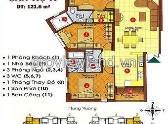 Hung Vuong Plaza apartment for sale in 121 sqm 3 bedrooms fully furnished