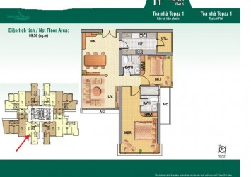Selling Saigon Pearl apartment high floor Topaz Tower 89sqm 2BRs with luxurious and coziness
