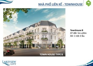 Lakeview City District 2 townhouses sell 5mx20m 4 floors lake view ecology