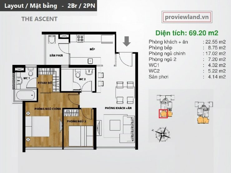 Layout apartment 2bedrooms at The Ascent