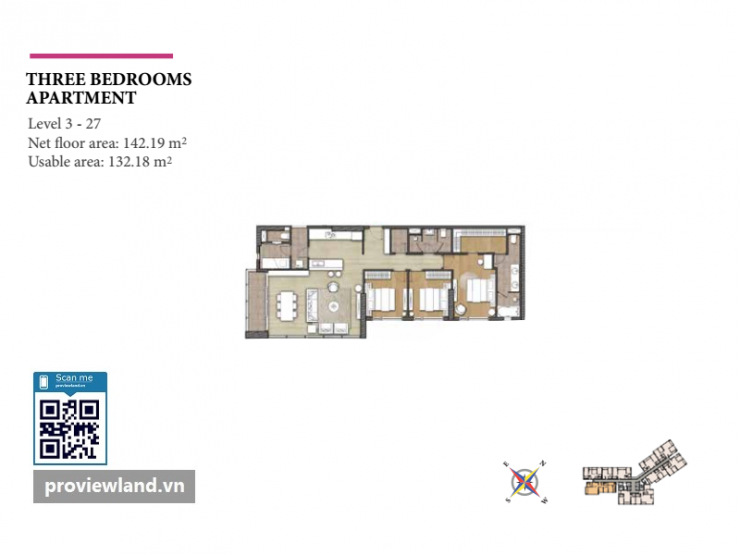 Diamond Island layout Bora apartment 3 bedrooms