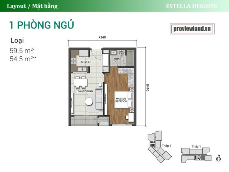 Estella Heights apartment layout 1 bedroom