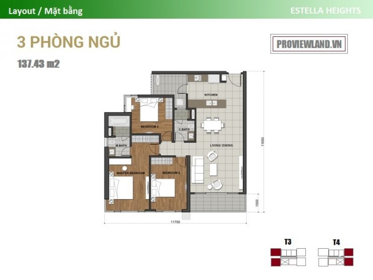 Estella Heights layout apartment 3 bedrooms