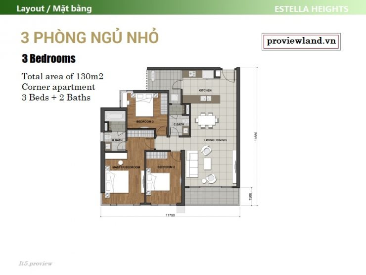 Layout Estella Heights apartment 3 bedrooms