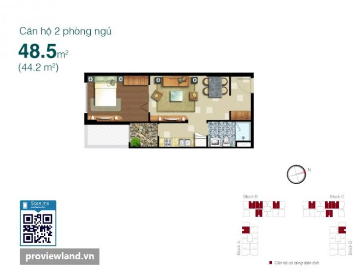 Lexington layout apartment 1 bedroom 48.5m2