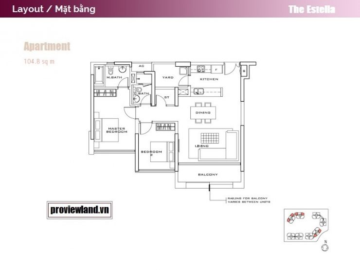 The Estella layout apartment 2 bedrooms