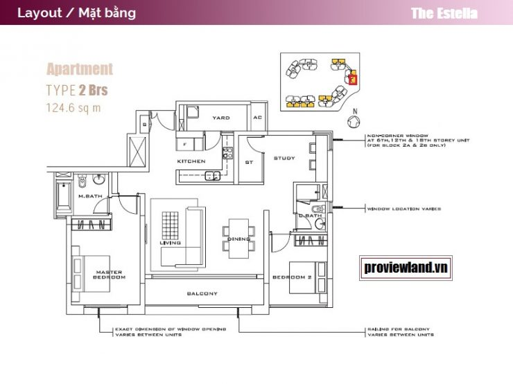 The Estella An Phu layout apartment 2 bedrooms