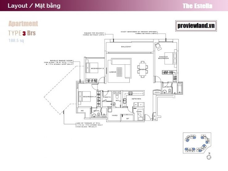 Layout The Estella An Phu 3 bedrooms