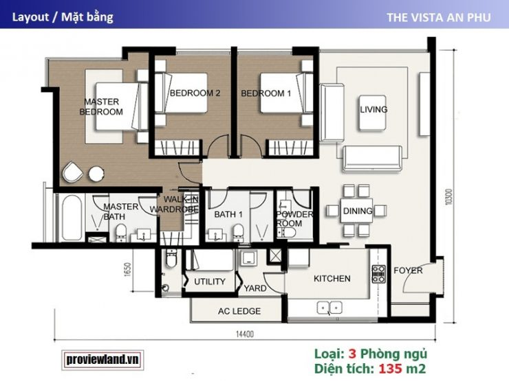 The Vista An Phu layout apartment 3 bedrooms