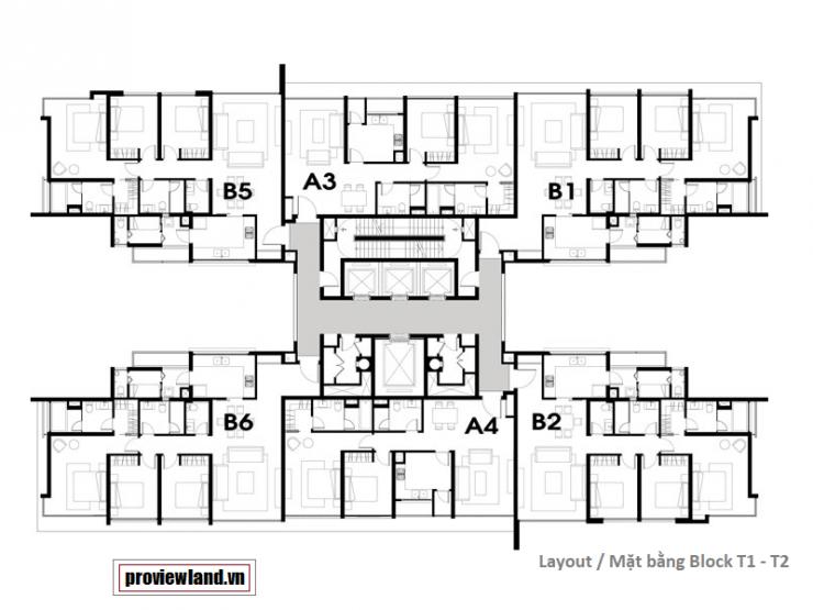 The Vista An Phu layout block T1 T2