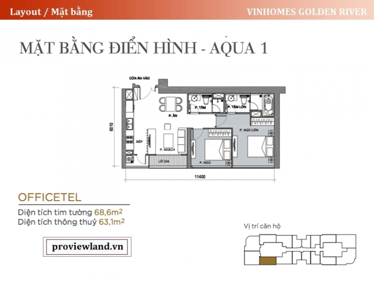 Vinhomes Golden River Aqua1 layout apartment 2 bedrooms