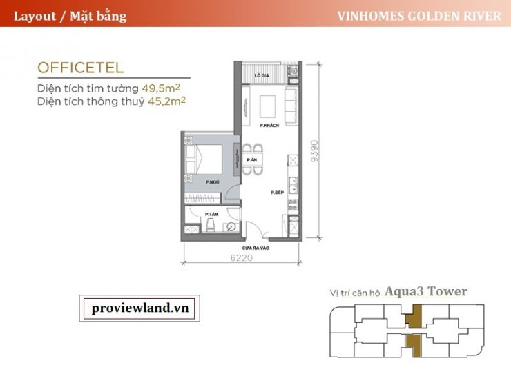 Vinhomes Golden River layout apartment Aqua3 1Bedrooms