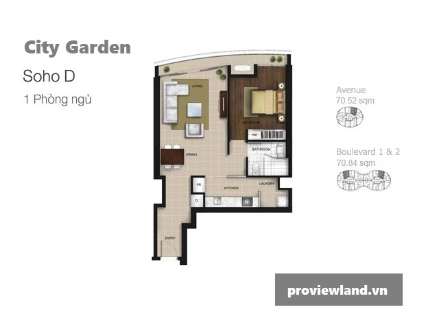 City Garden layout apartment Boulevard 1br