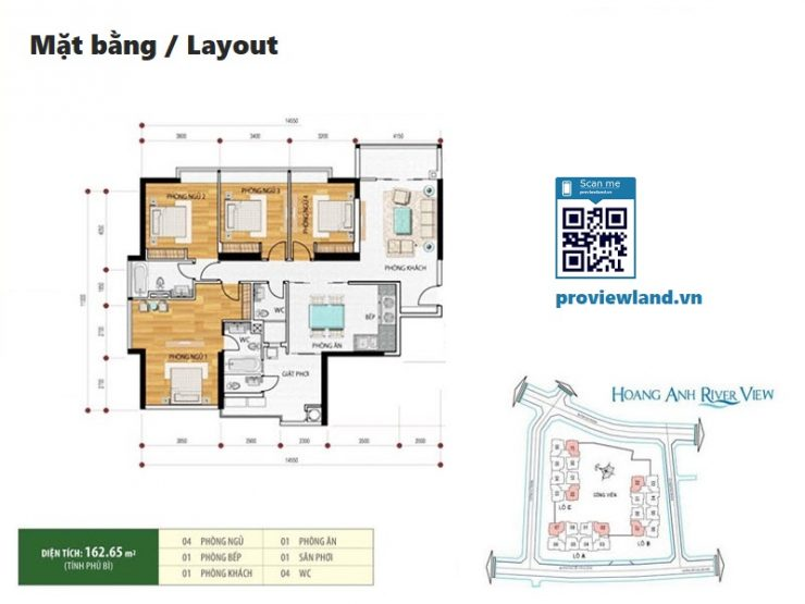 Hoang Anh riverview layout apartment 4brs 162m2
