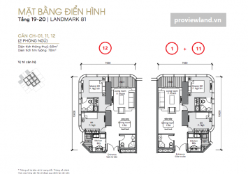 Vinhomes central park landmark81 layout 2brs 78m2