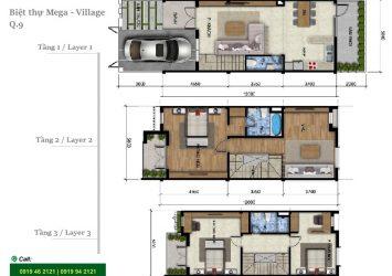 Mega Village villa for rent 3brs