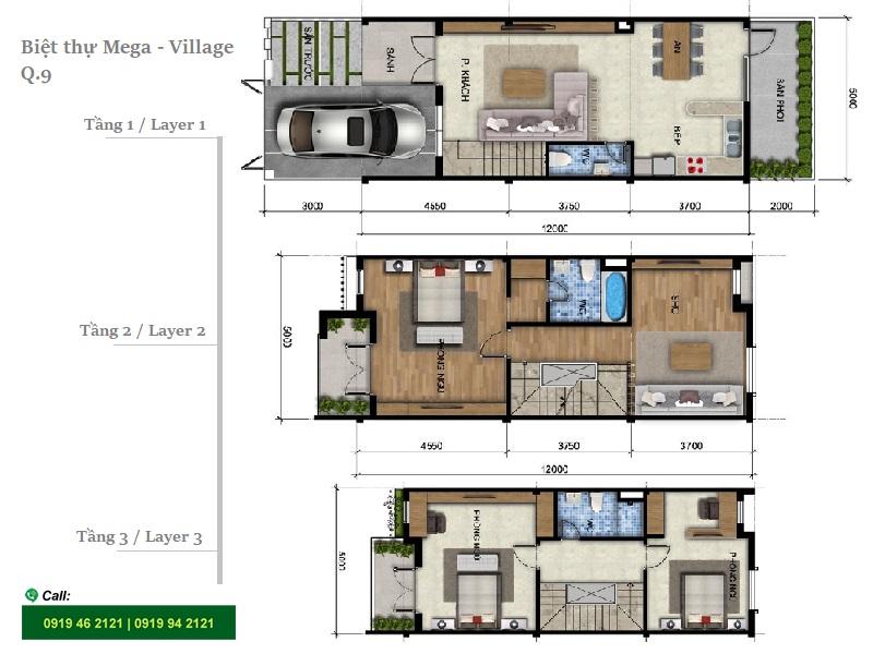 Mega Village villa layout 3brs
