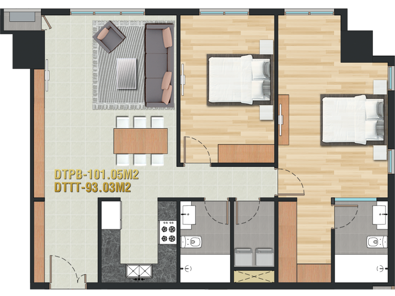 Pearl Plaza layout apartment 2brs 101m2