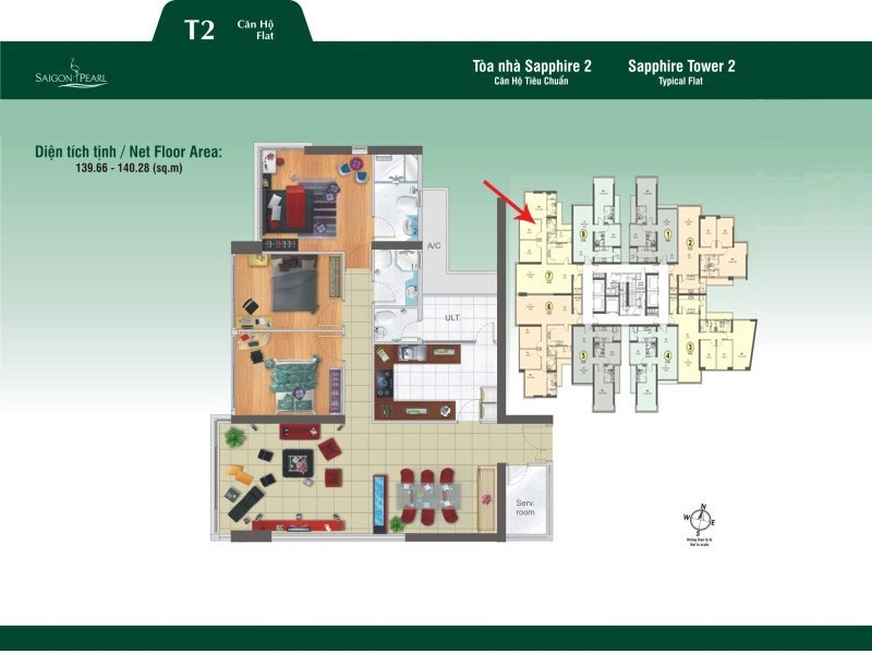 Saigon Pearl Sapphire 2 layout apartment 3brs
