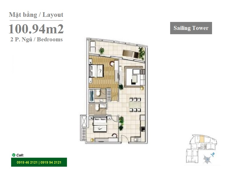 Sailing Tower layout apartment 2Brs