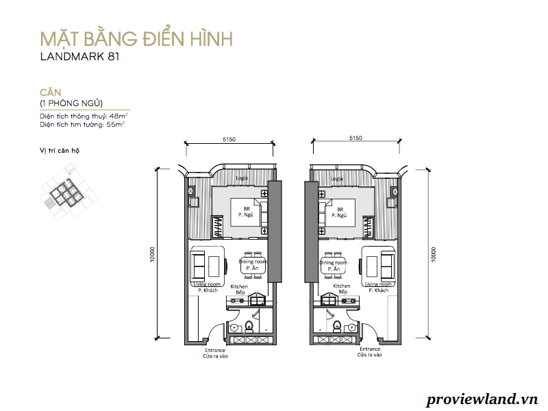 Vinhomes Landmark81 layout apartment 1br