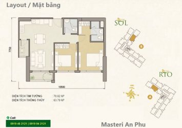 Luxury apartment for rent in Masteri An Phu low floor includes 2 bedrooms
