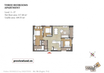 Apartment for rent in Diamond Island 3 bedrooms high class interior view pool