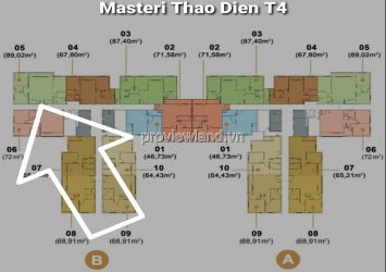 Masteri Thao Dien apartment for rent with 3 bedrooms high floor T4B tower